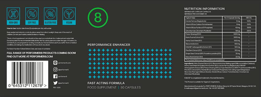 Performer 8 Ingredients